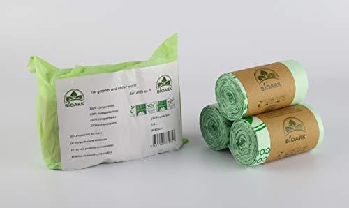 BIOARK Bolsa de Basura Biodegradable 100, 5-6 litros, 150 Unidades, extragruesa, Biodegradable y compostable, con Certificado EN 13432 TUV Home Ok Compost