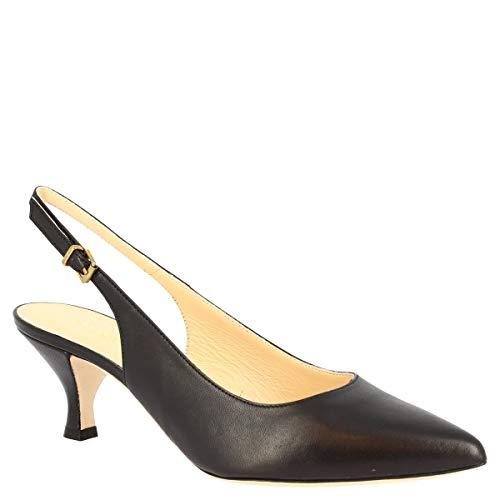 Leonardo Shoes Zapatos de salón Destalonados de tacón Medio Hechos a Mano para Mujer en Piel de Becerro Negra con Cierre de Hebilla - Número de Modelo: 665/VEGA Nappa Nero - Tamaño: 40 EU