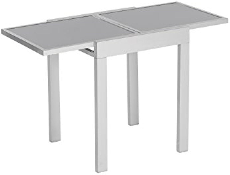 MERXX Balkontisch aus Aluminium und Glas, ca. 65 130x65x75 cm, ausziehbar