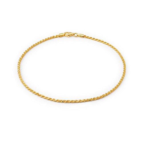 Bling Jewelry Cable Cadena Cuerda Pulsera para Adolescente Tobillera Mujer 14K Chapado En Oro Y Plata Esterlina 9-10 Hecho En Italy