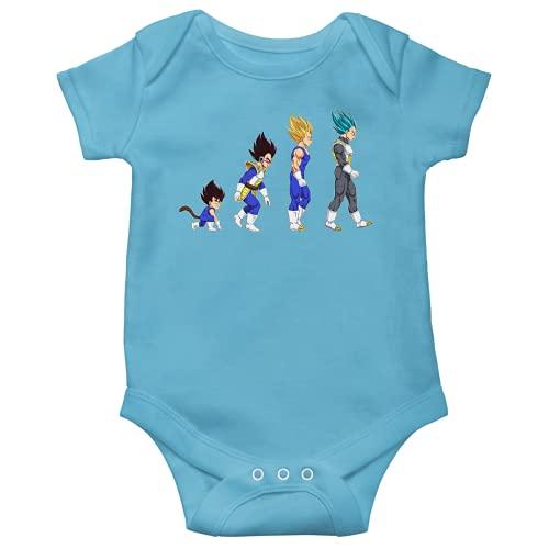 OKIWOKI Dragon Ball Z - DBZ Lustiges Blau Kurzärmeliger Baby-Bodysuit (Jungen) - Vegeta, Super-Saiyajin Vegeta und Vegeta Super Saiyajin Blue (Dragon Ball Z - DBZ Parodie signiert Hochwertiges Baby