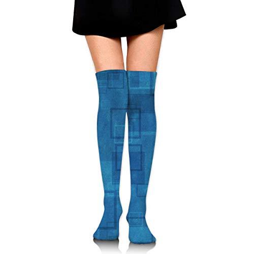 Houlipeng Women Girl Knee High Socks Abstract Cool Blue Thigh Long Tube Stockings 60Cm/23.6 Inch