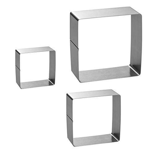 Square Cake Mold Ring Set-4/6/8 Inch Stainless Steel Square Cutter Pancake Mold