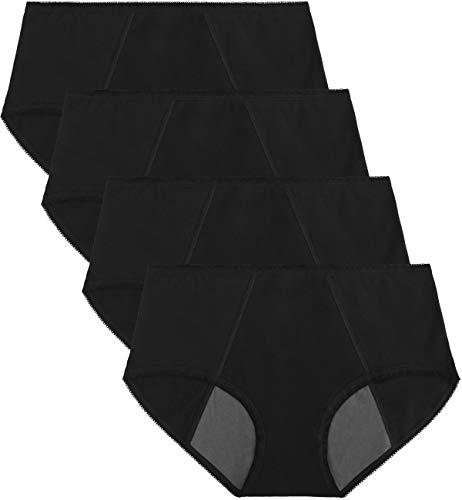 TUTUESTHER Womens Menstrual Period Panties Postpartum Underwear C-Section Leak Proof Cotton Briefs(Small(US 5), 4 Black)
