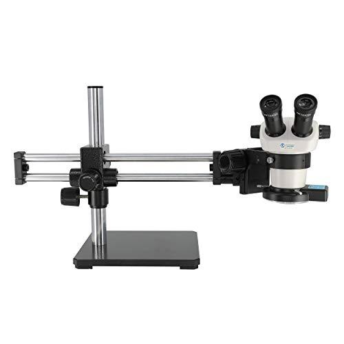LX Microscopes by UNITRON 20716BB System 230BB-LEDQRL Stereo-Zoom Binocular Microscope with Ball Bearing Boom Stand, Quadrant LED Ring Light, 20mm