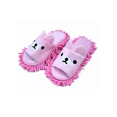 Liitrton 1 Pair Washable Mop Slippers Shoes Microfiber Chenille Reusable Dust Dirt Hair Cleaner for Office House Polishing Cleaning (Pink)