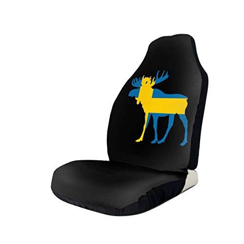 Little Yi Elch Tier schwedische Flagge Autositzbezug Set fit die meisten Autos
