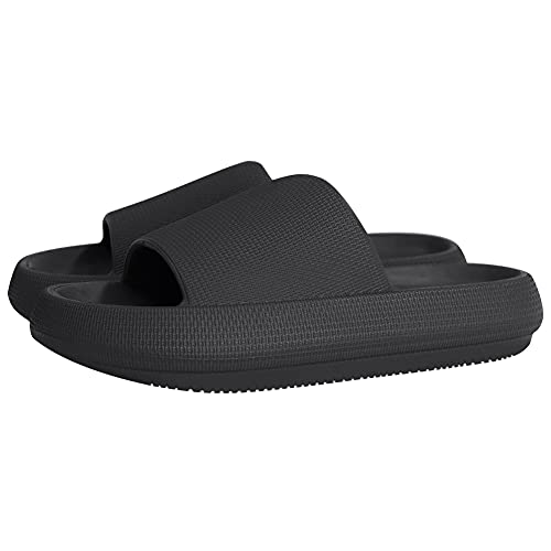 Slippers for Women and Men Shower Quick Drying Bathroom Sandals Open Toe Soft Cushioned Extra Thick Non-Slip Massage Pool Gym House Slipper for Indoor & OutdoorAurora black-40-41