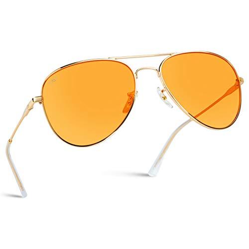 Classic Aviator Style Metal Frame Sunglasses Colored Lens (Orange, 59)