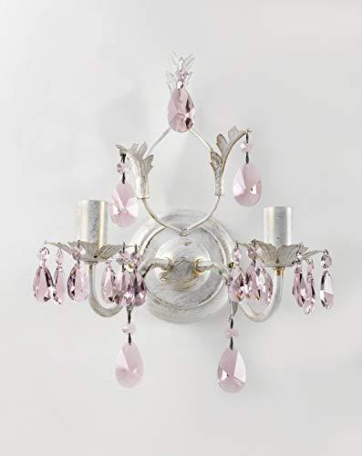ONLI Kate Applique, wandlamp in metaal met gouden en kristallen druppels, ivoor en roze