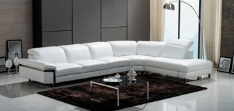 The Lorna Premium Leather White Sectional Sofa 2