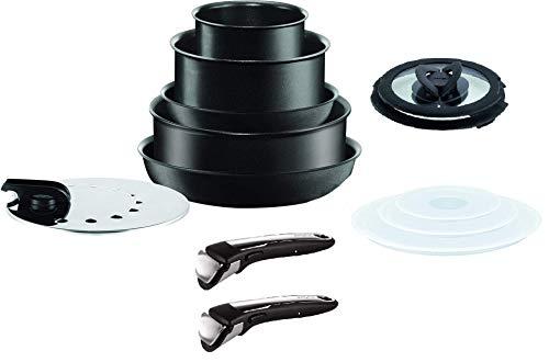 Tefal Ingenio Performance Black - Juego de sartenes de inducción (13 piezas), color negro