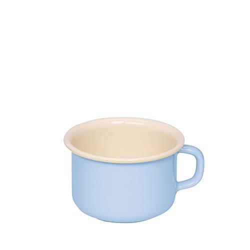 Riess 0299-006 Kaffeetasse, Kaffeebecher, Kaffeeschale, Tasse, CLASSIC - BUNT/PASTELL, Farbe Blau, Durchmesser 10 cm, Inhalt 0,4 Liter, Höhe 7,4 cm, Emaille
