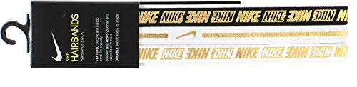 Nike Unisex 3 Pack Hairbands White/Black/Gold