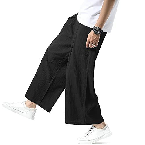 NEWHEY サルエルパンツ メンズ ワイドパンツ 夏 涼しい 大きいサイズ 無地 九分丈 ゆったり カジュアル 綿 リラックス 通気 ズボン 秋 ブラック
