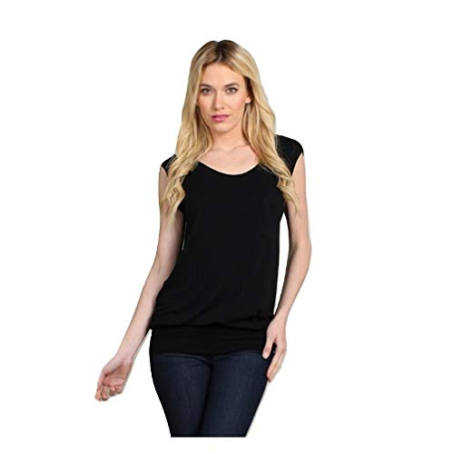 M.Rena Wide Elastic Waist Band Seamless Top with Cute Chest Pocket. One Size Black