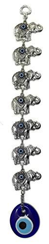 MYSTIC JEWELS Siete Elefantes Filigrana con Ojo Turco para la Buena Suerte Tibetano,Hindu 35 cm por 7 cm Ancho