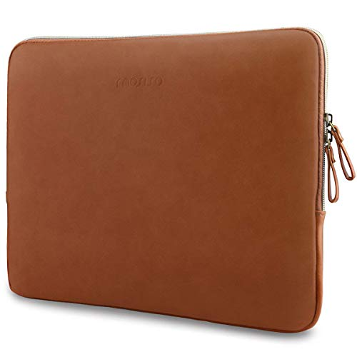 MOSISO Laptop Sleeve Compatible with 13-13.3 inch MacBook Pro, MacBook Air, Notebook Computer, PU Leather Padded Bag Waterproof Case, Brown