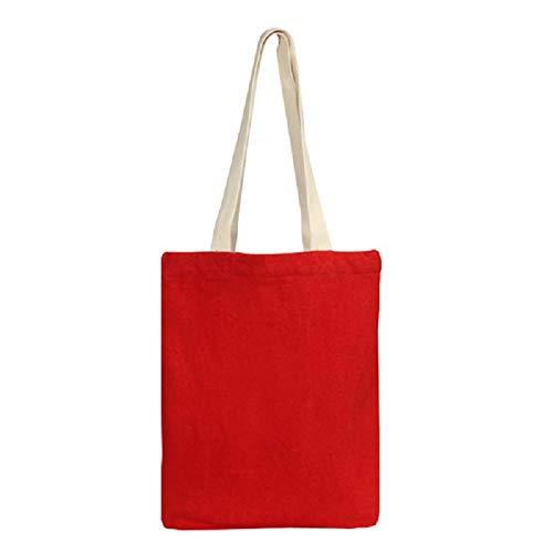Eono Bolsos Tote Para Mujer, Bolsas de la compra Reutilizables, Algodón reciclado Bolsas de Supermercado, Regalo Tote Bag, Bolsa de Playa, Bolsa de Hombro, Bolsa de Libros | Roja | 0412