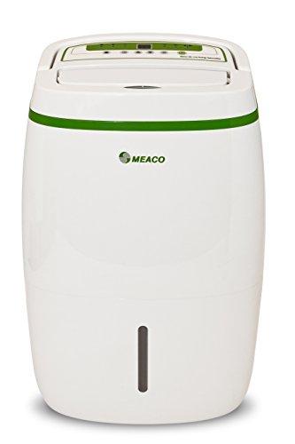 Meaco LE Platinum - Deshumidificador de 20 l de bajo consumo de energía, purificador de aire con filtro HEPA, evita problemas de condensación, moho, función de secado de ropa, blanco con borde verde