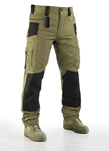 Survival Tactical Gear Lightweight Men's Ripstop Pants Outdoor Military Camo Cargo Trousers for Camping Hiking (Coyote Brown, L)