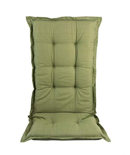 BigDean Hochlehner Auflage 120 cm grün - Sitz-auflieger für Gartenmöbel - Auflage für Gartenstuhl - Polsterauflage - Sitzauflage Sitzkissen Stuhlauflage