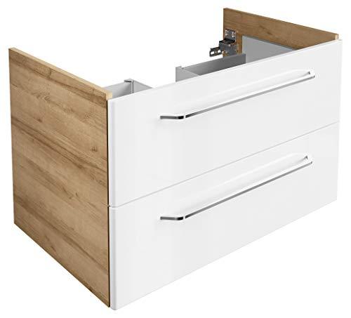 FACKELMANN Waschtischunterschrank Milano/Badschrank mit Soft-Close-System/Maße (B x H x T): ca. 80 x 49,5 x 48 cm/Waschbeckenunterschrank mit 2 Schubladen/Korpus: Braun hell/Front: Weiß