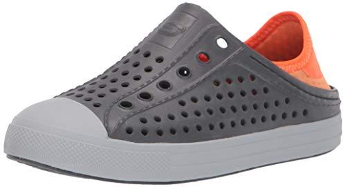 Skechers Kids Boys' Cali Gear Guzman Stepz Sneaker, Charcoal/Orange, 1 M US Little Kid