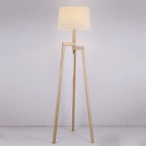 Madera Sólido madera trípode tela pantalla lámpara de escritorio lámpara de mesa modelo piso posmoderno loft nórdico pastoral vertical luz luz iluminación iluminación iluminación para la cama de la ca