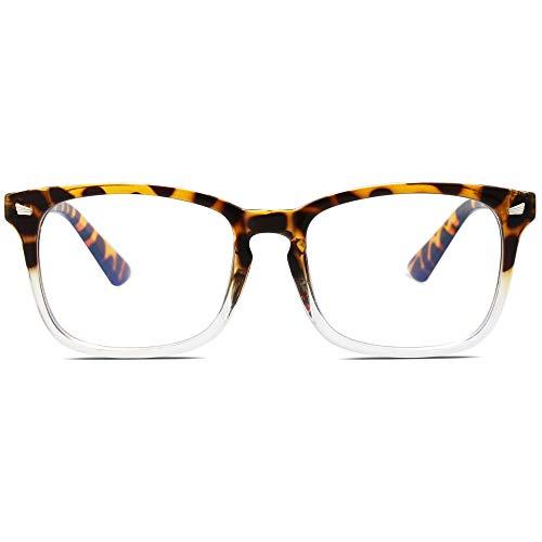 SOJOS Blue Light Blocking Glasses Square Eyeglasses Frame Anti Blue Ray Computer Game Glasses for Women Men Crazy Work SJ5028 with Tortoise&Crystal Frame/Anti-Blue Light Lens