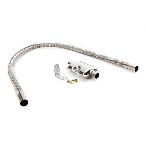 dDanke 120cm Abgasschlauch Schalldämpfer Set Edelstahl Auspuffrohr Gas-Entlüftungsschlauch Schalldämpfer für Autos Luft Diesel Heizung