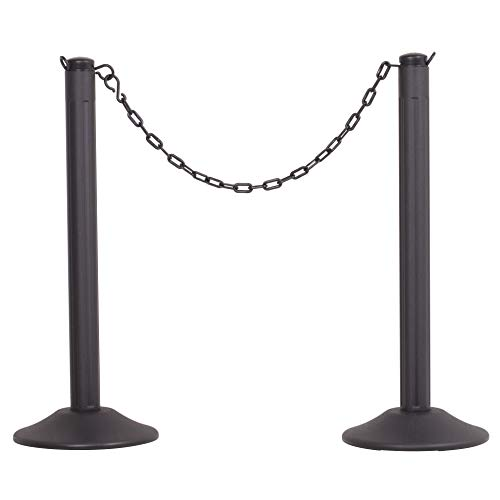 US Weight-U2006 ChainBoss Stanchion with 10' of Black Plastic Chain ft. SunShield UV Protection–Weighted Base