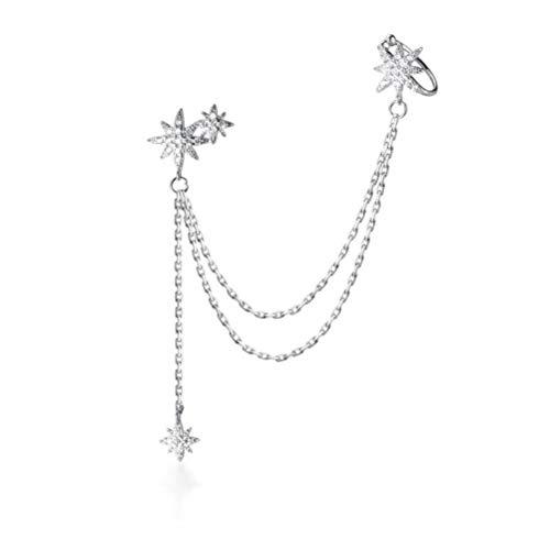 WOZUIMEI S925 Plata Temperamento Coreano Estrella Tachonada de Diamantes Pequeños Pendientes de Borla Clip de Oreja Pendientes de Moda ÚnicaPendiente único