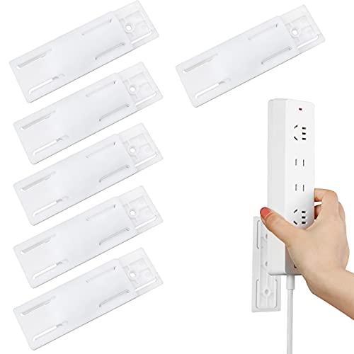Mox 6 Piezas Soporte para Regleta de Alimentación Punch-Libre montado en la Pared Sujetador de la Tira de alimentación de Montaje para Enrutador WiFi, Control Remoto y Caja de Pañuelos