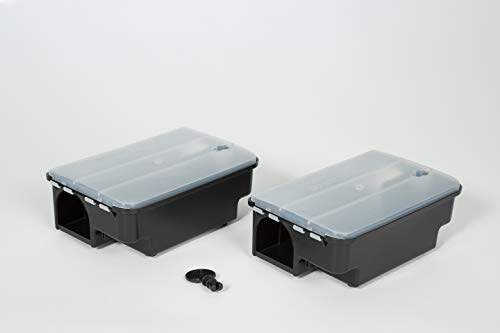 Köder-Discount: 2 x Köderstation Ratte mit Warnaufklebern I Effektive Köderbox zum Auslegen von Rattengift