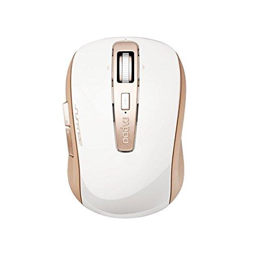 Rapoo 3920P kabellose Laser Maus (5 GHz Wireless, umschaltbare 1600 DPI, 6 Tasten, 4D Mausrad, Links-/Rechtshänder, Nano-USB für PC, Laptop, iMac, Macbook, Microsoft) gold