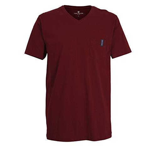 TOM TAILOR Herren T-Shirt rot Uni 1er Pack 50