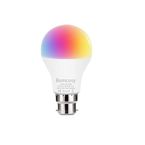 Ampoule Wifi, Bomcosy Smart Ampoule LED B22, 7W, RGBCW Lampe...