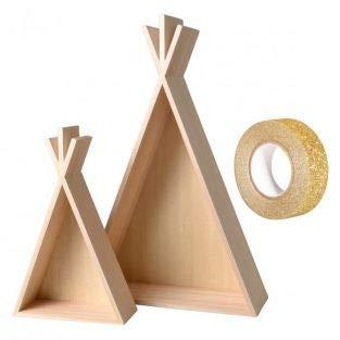 Youmuss 2 houten planken Tipi 45 en 26 cm + Masking Tape Gold Pailletten 5 m gratis