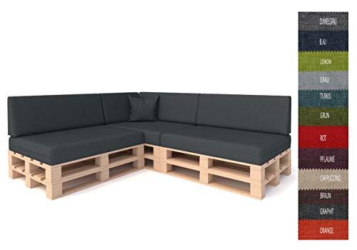 Pillows24 Palettenkissen 8-teiliges Set | Palettenauflage Polster für Europaletten | Hochwertige Palettenpolster | Palettensofa Indoor & Outdoor | Erhältlich Made in EU | Graphit