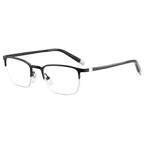 Gafas De Lectura De Titanio Puro con Media Montura Y Luz Azul para Hombres Y Mujeres, Gafas Antirradiación Y Antirrayas para El Dolor De Cabeza Y Los Ojos