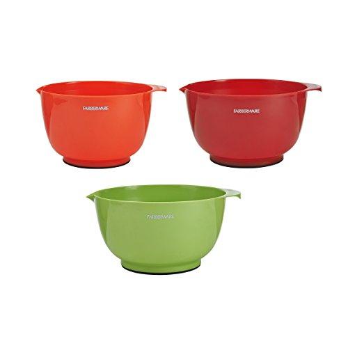 Farberware 5216128 Professional Plastic Mixing Bowls Set of 3 Orange/Red/LightGreen