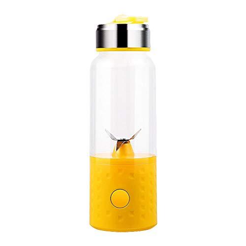 9 Sekunden Quetschen, Portable Blender, kleiner Container, USB wiederaufladbarer Juicer, 4 Blätter, Milk Shake Mixer, Perfect Blender for Travel Personal, Sport Mini Juice Maker, Shake Shaker,Yellow
