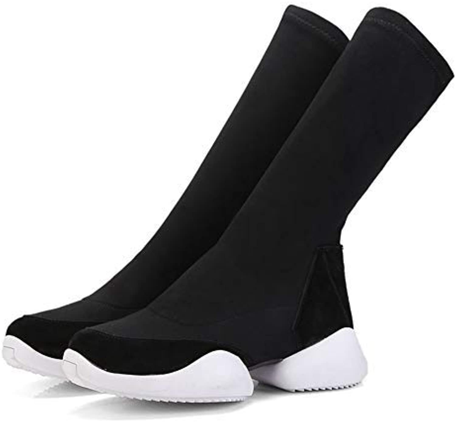 Women Knee-high Riding shoes Winter Stretch Cloth Warm Woman Soft Surface High Heel Boots Platform Ladies Ankle Boots for Woman Easy to Match for Girls No Grinding Feet Black 8 M US Boots