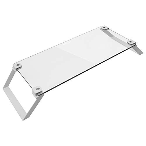 Price comparison product image Macally Glass Computer Monitor Stand Riser - Desk Monitor Riser for Laptop with Shelf Storage Space for Keyboard - Sturdy Desktop Computer Stand & No Slip Pads - White