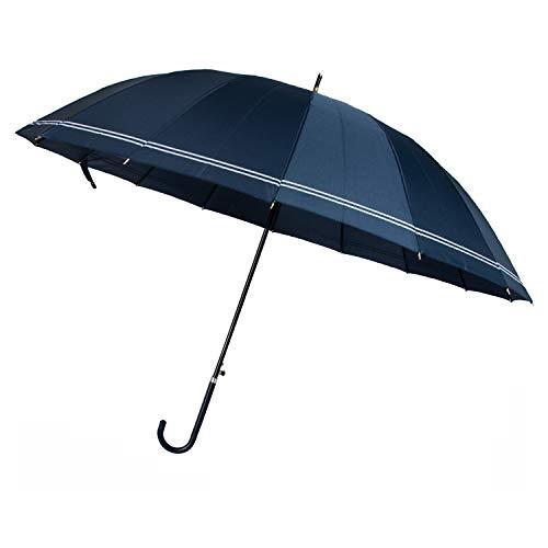 ThreeH Automatisch öffnen Regenschir Persönlichkeit Regenschirm mit hoher Dichte Überdachung Langen Griff Reise Licht Regenschirm KS21 Blau