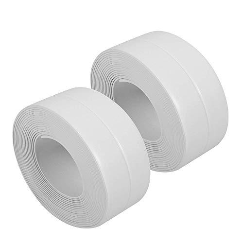 Lot de 2 rouleaux de joint d'étanchéité pour baignoire et mur Film pelable, auto-adhésif, étanche, pour décoration, blanc