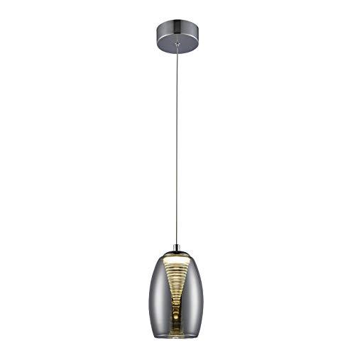 LED Pendelleuchte, 1-flammig, 1x 5W LED integriert, 1x 500 Lumen, 3000K, Glas/Metall, chrom/rauchglas