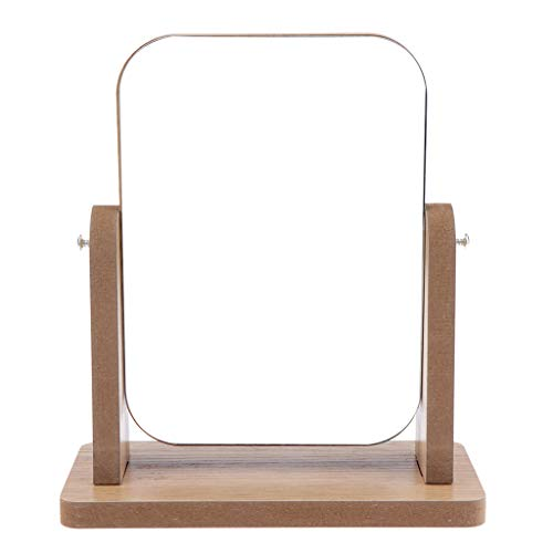 IPOTCH Holz Kosmetikspiegel Make Up Standspiegel Schminkspiegel Tischspiegel Duschspiegel mit 360 ° schwenkbare Drehkugel - 1