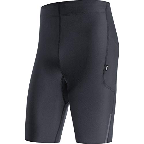 GORE WEAR Mallas cortas de running Impulse para hombre, XL, Negro